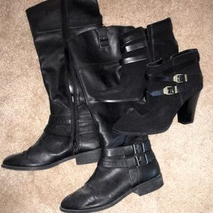2 Pairs Of Fall Black Buckle Boots Size 9,10